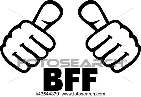 Clipart Of Best Friend Forever With Thumbs K43544370 Search Clip