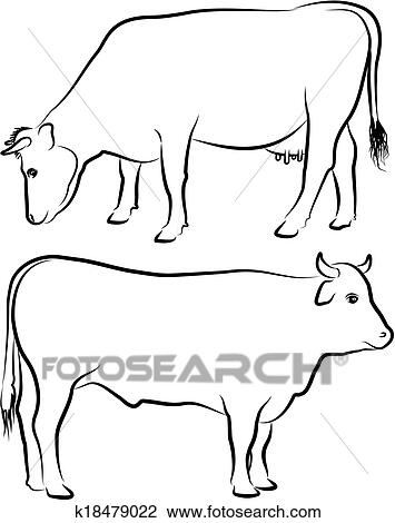clipart of cow and bull outlines k18479022 search clip art