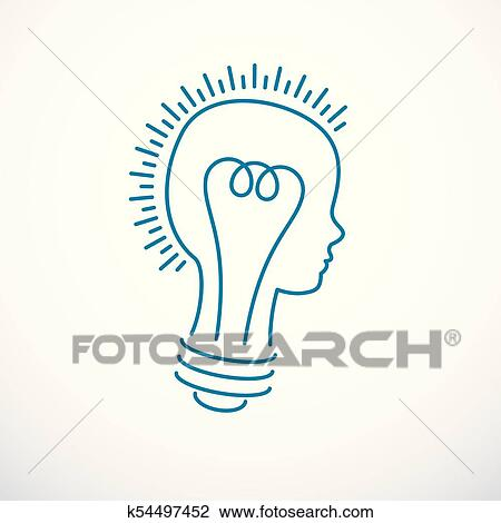 Clipart Of Creative Brain Concept Intelligent Person Vector Logo