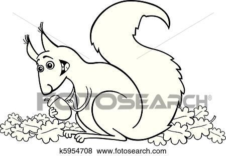 Clip Art Eichhörnchen Mit Nuß Für Ausmalbilder K5954708