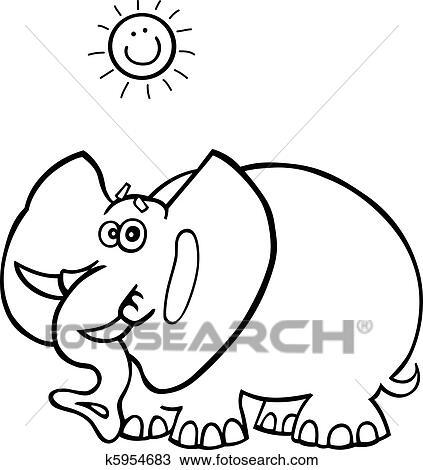 Clipart - elefante africano, para, libro colorear k5954683 - Buscar ...