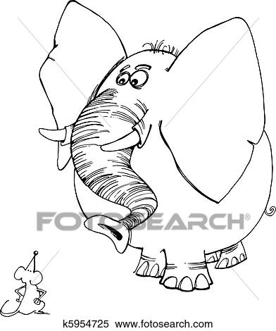 Clipart of Elephant and mouse for coloring book k5954725 - Search ...