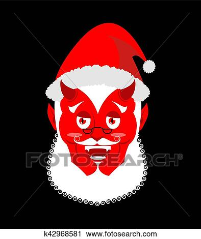 Evil Christmas.Krampus Satan Santa Claus Red Demon With Horns Christmas Monster For Bad Children And Bullies Folklore Evil Devil With Beard And Mustache Clipart