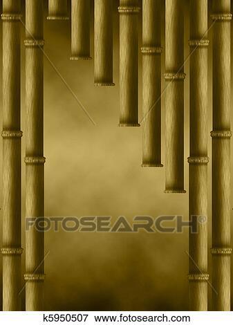 Coleccion De Ilustraciones Marron Cortina De Bambu Palos - Palos-de-bambu