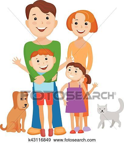 Mignon dessin anim famille dans color l gant - Dessin anime de la famille pirate ...