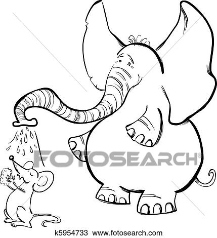 Clipart of Mouse and Elephant for coloring book k5954733 - Search ...