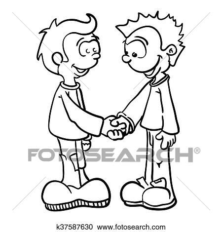 Noir blanc deux gar ons serrer main clipart k37587630 - Dessin 2 mains ...