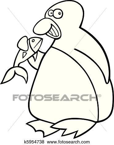 Clip Art Pinguin Mit Fische Für Ausmalbilder K5954738 Suche