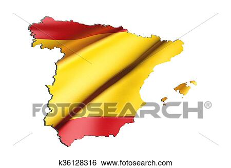 Spain Map Flag.Silhouette Of Spain Map With Flag Stock Illustration