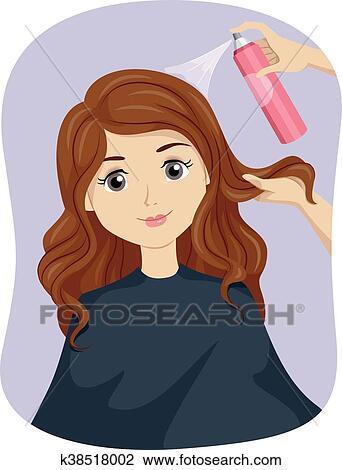 Teen Girl Salon Hair Spray Clipart K38518002