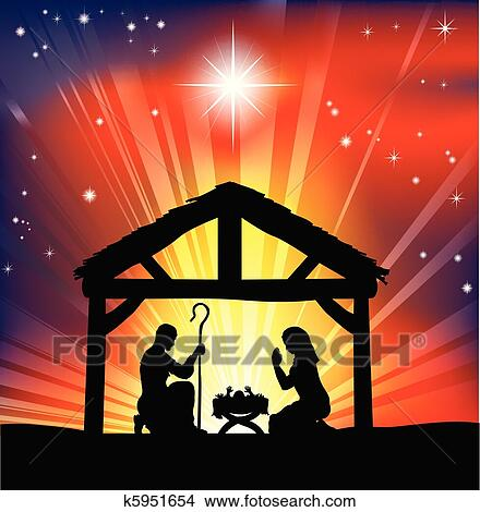 clipart traditional christian christmas nativity scene fotosearch search clip art illustration murals - Christian Christmas Pictures