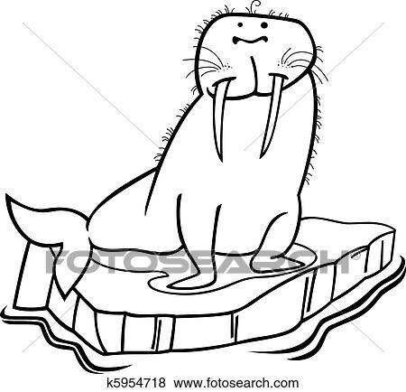 Walross Auf Schwimmend Eis Für Ausmalbilder Clip Art