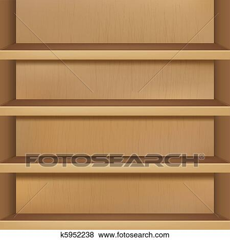 Clip Art Of Wooden Empty Bookshelf K5952238