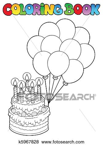 Clip Art of Coloring book with birthday cake 1 k5967828 - Search ...