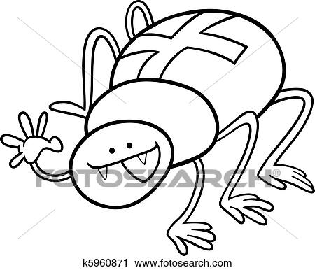 Cartoon Illustration Of Funny Cross Spider For Coloring Book