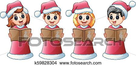 Christmas Carols Clipart.Group Of Kids In Red Santa Costume Singing Christmas Carols Clipart