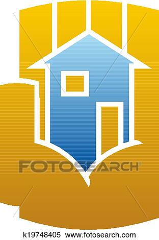 clipart of house icon cupped in a hand k19748405 search clip art