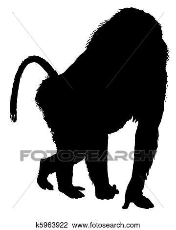 Clipart babouin silhouette k5963922 recherchez des - Dessin de babouin ...