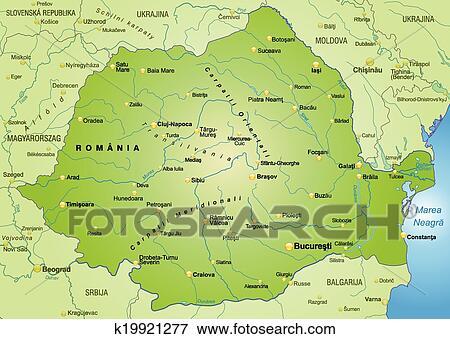 Landkarte Von Rumanien Clip Art K19921277 Fotosearch