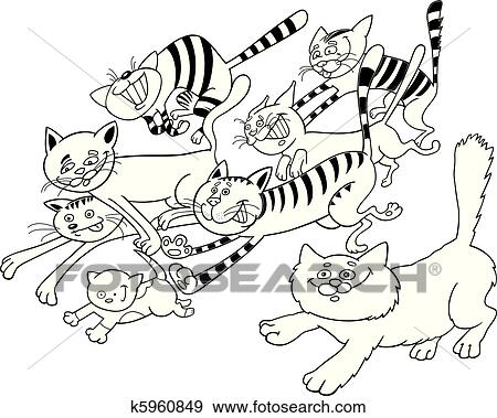Clip Art of Running cats for coloring book k5960849 - Search Clipart ...