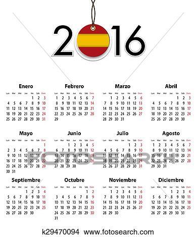 Calendario Spagnolo.Spagnolo Calendario Griglia Per 2016 Con Bandiera Come Etichetta Clipart