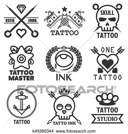 Clipart Tatuaje Estudio Salón Vector Icono Plantillas Cráneo