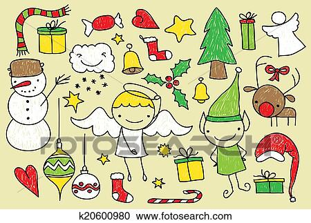 weihnachten kinder gekritzel clipart k20600980. Black Bedroom Furniture Sets. Home Design Ideas