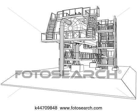 Clip Art of Wire-frame Oil and Gas industrial equipment. k44709848 ...