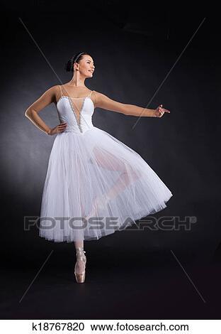 Beautiful Ballet Dancer Standing On One Foot Attractive Female Ballerina Practicing Dance Stock Image K18767820 Fotosearch