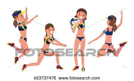 Clip Art - deporte playa, jugador del voleibol, vector., igual ...