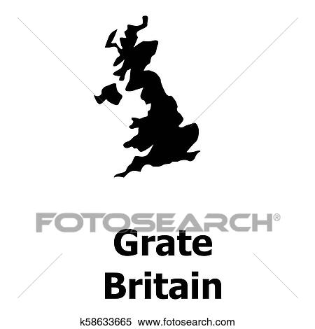 Simple Map Of England.Stock Illustration Of England Map Icon Simple Style K58633665