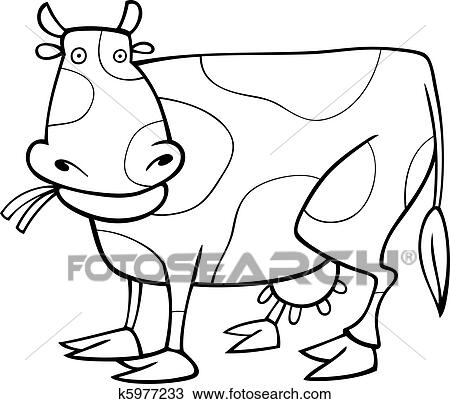 Clipart of Funny Cow for coloring book k5977233 - Search Clip Art ...