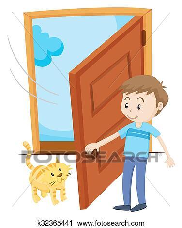 Clipart homme ouvrir porte pour chouchou chat k32365441 recherchez des clip arts des - Formule magique pour ouvrir une porte ...