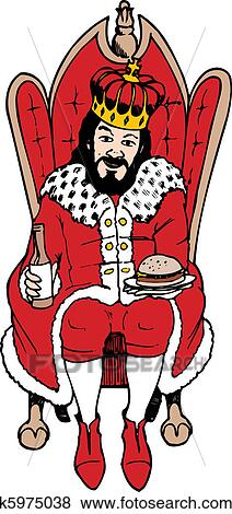 A King Sitting On Throne Holding Beer And Burger