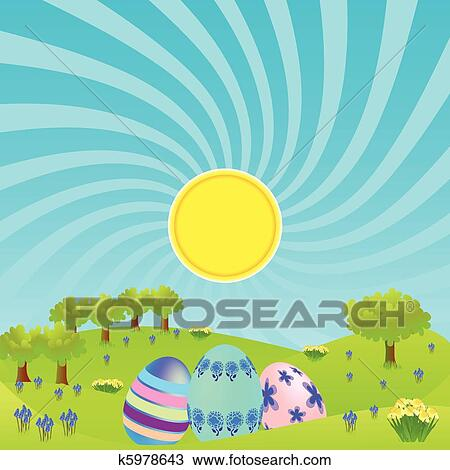 clipart of morning landscape with easter eggs k5978643 search clip