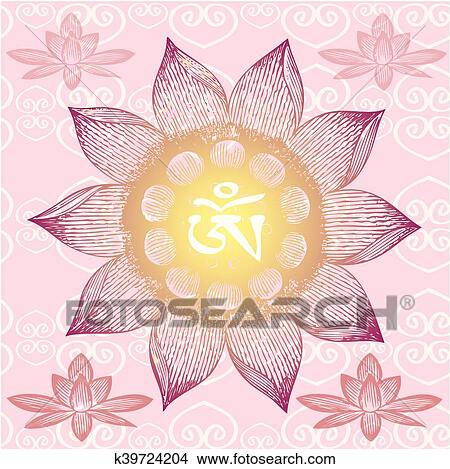 Om Design Lotus Flower Clipart K39724204 Fotosearch