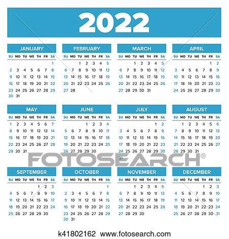 2022 Calendar Clipart.Simple 2022 Year Calendar Clipart K41802162 Fotosearch