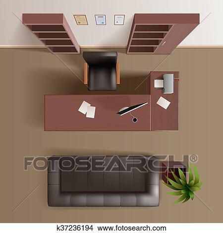 clipart travail bureau salle vue dessus r aliste k37236194 recherchez des clip arts des. Black Bedroom Furniture Sets. Home Design Ideas