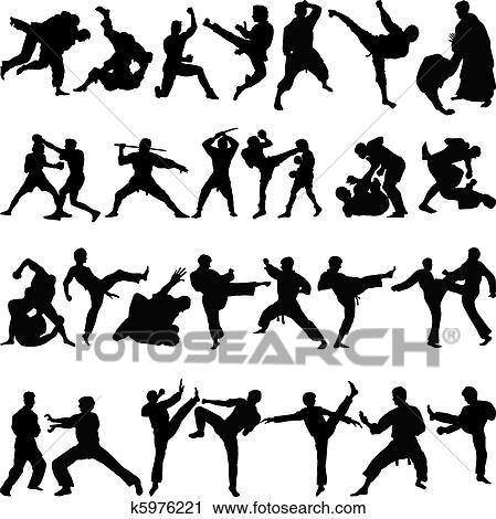 Various Positions Of Martial Arts Clipart K5976221 Fotosearch