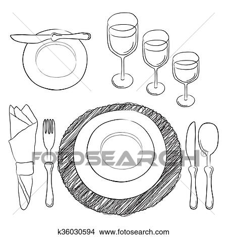 Clipart vector tabla setting blanco y claro cubiertos y