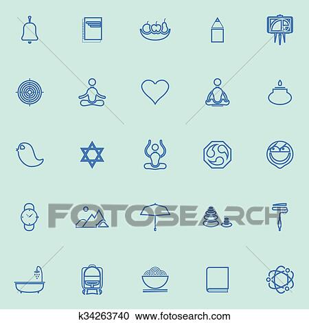 b4f3029b Zen society line icons light blue color Clipart   k34263740   Fotosearch