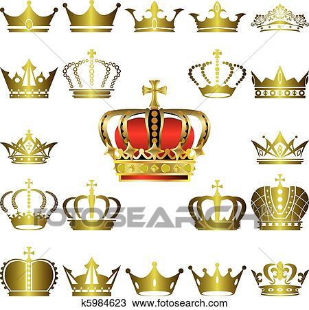 王冠 そして ティアラ アイコン セット クリップアート切り張り