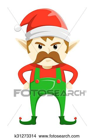 clipart of angry christmas elf with mustache k31273314 search clip rh fotosearch com Cartoon Elf Christmas Elf Names