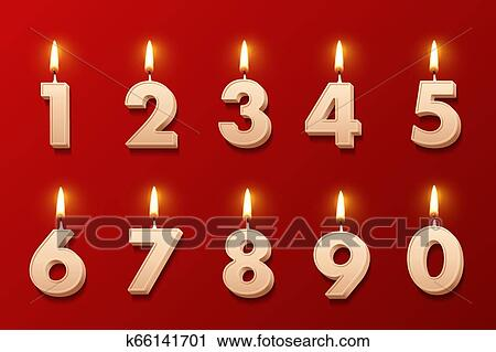 Birthday Candles With Burning Flames Isolated On Red Background Vector Design Elements Clipart K66141701 Fotosearch