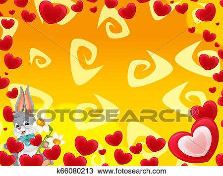 Cartoon Frame With Hearts And Rabbit