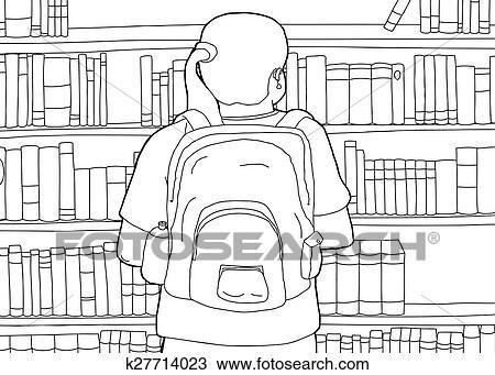 Clipart - contorno, de, mujer con mochila, en, biblioteca k27714023 ...