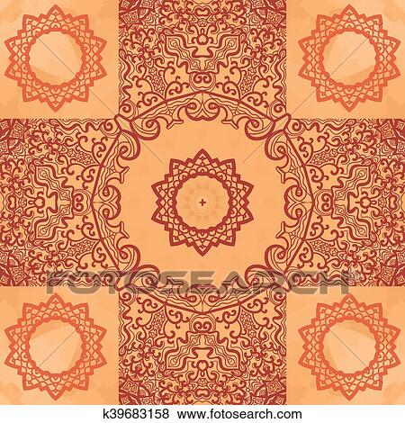 Clip Art Of Elegant Asian Print On Henna Seamless Texture Background