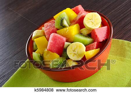Pictures Of Fresh Fruit Salad Made Of Banana Kiwi Watermelon And