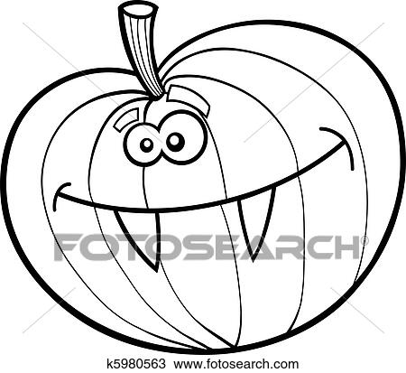 Clipart of Funny halloween pumpkin for coloring book k5980563 ...