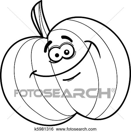 clip art of funny pumpkin for coloring book k5981316 search